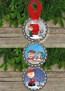 peanuts charlie brown snoopy bottlecap christmas ornaments tree decorations