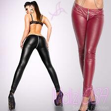 Leggings donna Sexy pantaloni leggins Wetlook Similpelle Zip liquid Eco Pelle