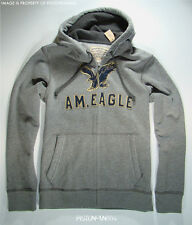 American Eagle Mens Gray Applique Zip Hoodie Sweatshirt MEDIUM NWT