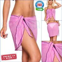 Coqueta Fashion Lavender Short Chiffon Wrap Pareo Cover up Bathing Sarong Suit
