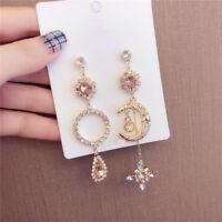 Asymmetric Drop Earrings Moon Star Tassel Earrings Women Jewelry Accessories