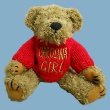 """Carolina Girl"" Brown Bear/Red Knit Sweater (7"" High Sitting Up) Teddy Bear Vtg."