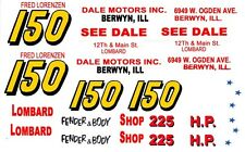 #150 Fred Lorenzen Lombard Fender & Body 1956 -57 1/32nd Scale Slot Car Decals