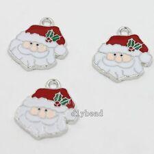 15x Newest White Blue Red Enamel Christmas Santa Claus Alloy Charms Pendants D