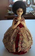 Antique bisque half doll PIN CUSHION 1920s REAL HAIR - Beehive Bouffant hair-do