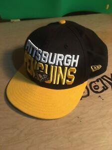 New Era 9Fifty Pittsburgh Penguins NHL EUC Black Gold Snapback Hat Cap