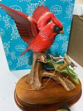 Andrea By Sadek Red Cardinal Bird w/Dogwood Porcelain Figurine Art Statue