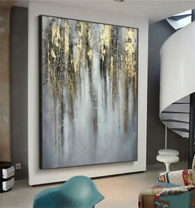 LL785 Pure hand-painted abstract gold foil oil painting Modern Home decor