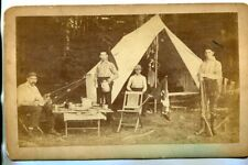 Antique Indian Wars Military Camp, Springfield Rifle Cabinet Card Photo