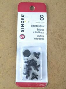 Singer Instant No Sewing Buttons White Easy to Attach Button Replacement 8 pc