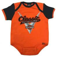Harley-Davidson Baby Boys' Classic Colorblocked Infant Creeper, Orange (24M)