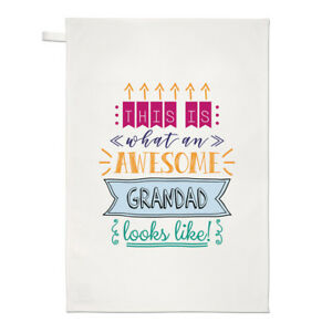 This Is What An Awesome Grandad Looks Like Tea Towel Dish Cloth - Funny Present
