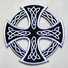 BEAUTIFUL CELTIC KNOT CROSS Embroidered Iron on Patch Free Postage