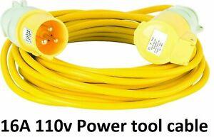 110V YELLOW EXTENSION LEAD SITE POWER LIGHTS TOOLS HOOK UP PLUG & SOCKET 10M