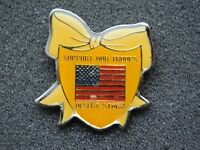 VINTAGE METAL PIN   US ARMY NAVY MARINES SUPPORT OUR TROOPS DESERT STORM FLAG