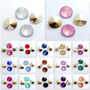 10mm 12mm 14mm 16mm Resin Rhinestones Rivoli Round loose Beads DIY