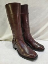 Vintage Tall Riding Women's Brown Leather Boots Ruff Hewn Buckle Zipper 8M $192