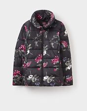 Joules Florian Padded Coat in Black Hedgerow Print, size 8. New