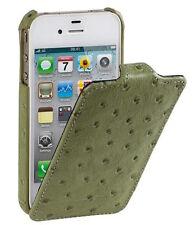 Melkco Custodia in pelle per Apple iPhone 4/4S - il tipo di STRUZZO Stampa Verde Oliva H15132
