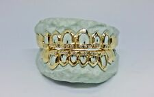 S. Silver 10K or 14K Solid Gold w/ CZ. Custom All Open-Cut Grill Grillz