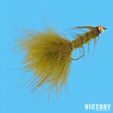 Woolly Bugger OLIVE Bead Head 12-Pack Flies - Ultra Sharp & Strong Daiichi Hooks