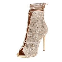 FASHION Women Ankle Boots Peep Toe Stiletto High Heels Party Boots Shoes Woman