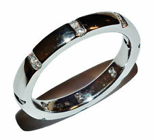 Fully Hallmarked 18ct White Gold & Diamond Band Ring - UK Size: R
