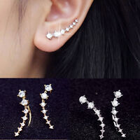 1 Pair Chic Lady GP Silver & Gold Plated Crystal Earrings Ear Hook Gifts