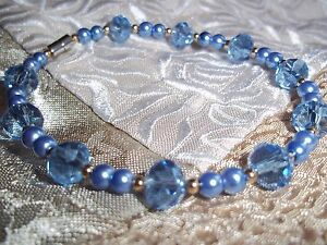 7 3/4 Inch Blue CRYSTAL & Blue Glass PEARL Bead Bracelet by Quality Jewelry N-32