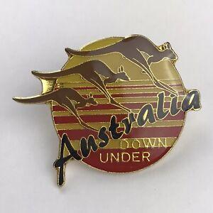 Australia Down Under Kangaroos Lapel Pin Travel Tourist Souvenir Red Yellow