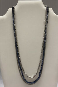 NWOT Layered Necklace Blue Silver Tone Chain Jewel Kade JK Thirty One