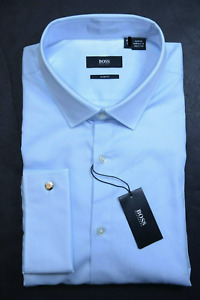 Hugo Boss Men's Lexington Slim Fit French Cuff Blue Cotton Dress Shirt 44 17.5