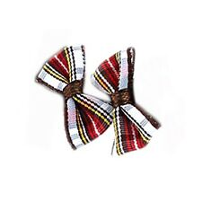 RED CHECK TARTAN BOW STUD EARRINGS - White Traditional Scottish Kitsch Joe Cool
