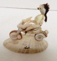 "Sea Shell Art Sculpture Biker Motorcycle Ocean Figure 4""x3.5""x2.25"" VINTAGE"