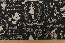 KOKKA Alice in Wonderland Cotton,Linen Canvas 110 cm x 50 cm - Japanese Fabric