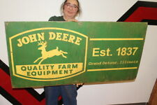 "Large John Deere Quality Farm Equipment Tractor Gas Oil 48"" Metal Sign"