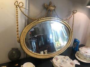 Antique Oval English Gilt Mirror