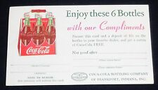 Vintage Rare Coca Cola Free Six Pack Coupon Card