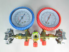 MANIFOLD GAUGES WITH SIGHT GLASS-R22, R12, R502-NO HOSES INCLUDED