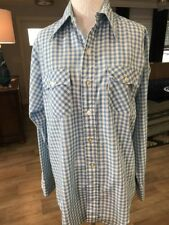 Levi's Blue Checked Gingham Button Down Shirt Sz 20 Vintage 1970 Womens Medium