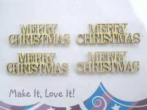 4 x WOODEN MERRY CHRISTMAS WORD CUT OUTS Crafts Card Making WOOD Embellishment