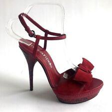 Moda In Pelle Shoes Red High Heel Stilletto Peep Toe Platform Sandals Size 5 38