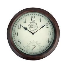 Reloj con Medidor De Temperatura rústico al aire libre Jardín Interior 30cm