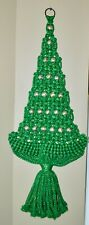 Macrame Green Christmas Tree Wall Hanging Gold WoodEn Beads W/Gold Thread Mcm