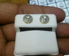 Mens Ladies 10K Yellow Gold Designer Square Micro Pave Diamond Earrings Studs