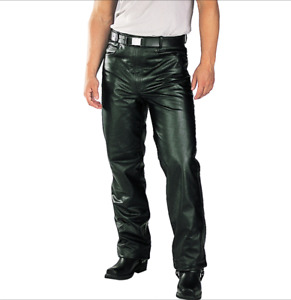 MEN CLASSIC FITTED RIDING BIKER MOTORCYCLE LEATHER PANTS