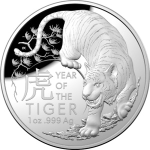 2022 Australia $5 Lunar Year of the Tiger Domed 1 oz Silver Coin - 7,500 Made