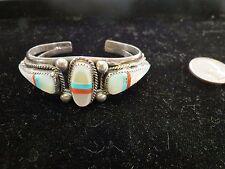 Sterling Silver Shell Bracelet CM eagle sand cast turquoise coral western