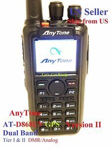 AnyTone AT-D868UV GPS Ver II + USB cable + Mic Dual Band Analog/DMR   US seller