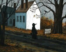 8x10 PRINT OF PAINTING RYTA HALLOWEEN SALEM WITCH SIGN HAUNTED HOUSE BLACK CAT